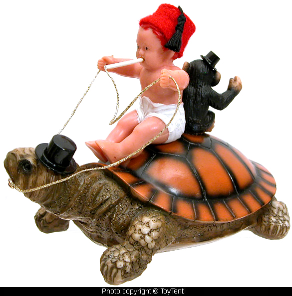 Smoking fez baby on turtle with monkey in top hat and smoke-ring cigarettes 002368f79bc