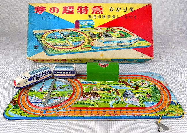 TPS Bullet Train wind-up toy on track