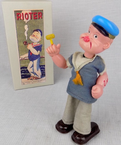 Popeye the Rioter celluloid wind-up toy Japan