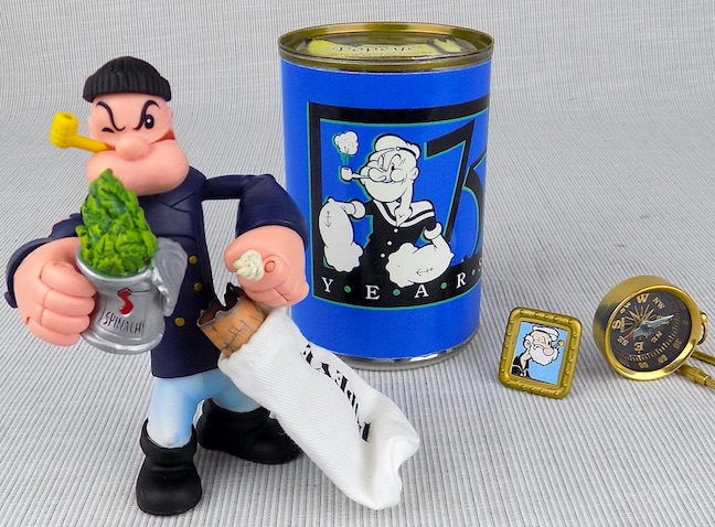 Peacoat Popeye posable figure with secret stash can stand