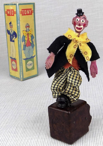 Tony Circus Clown thumb toy with original box