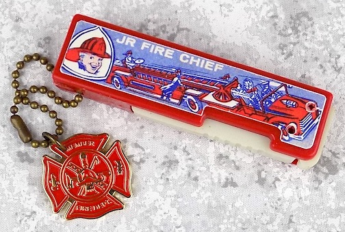 Jr Fire Chief Flippo Flashlight with Fire Department keychain medal charm